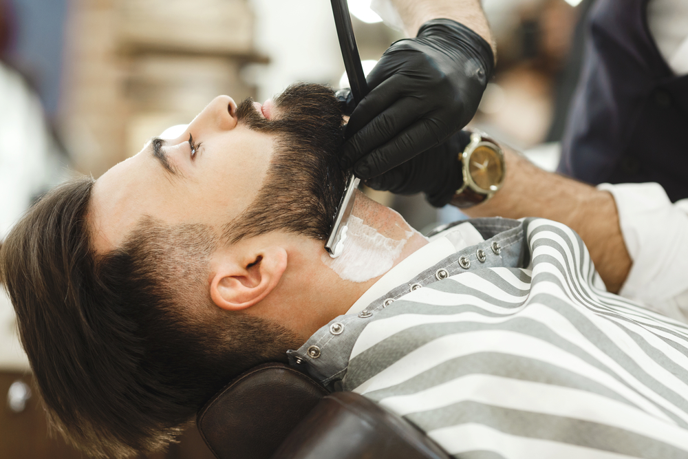 shaving neck with straight razor